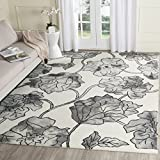 Cheap Safavieh Dip Dye Collection DDY683C Handmade Modern Floral Watercolor Ivory and Light Grey Wool Area Rug (8′ x 10′)