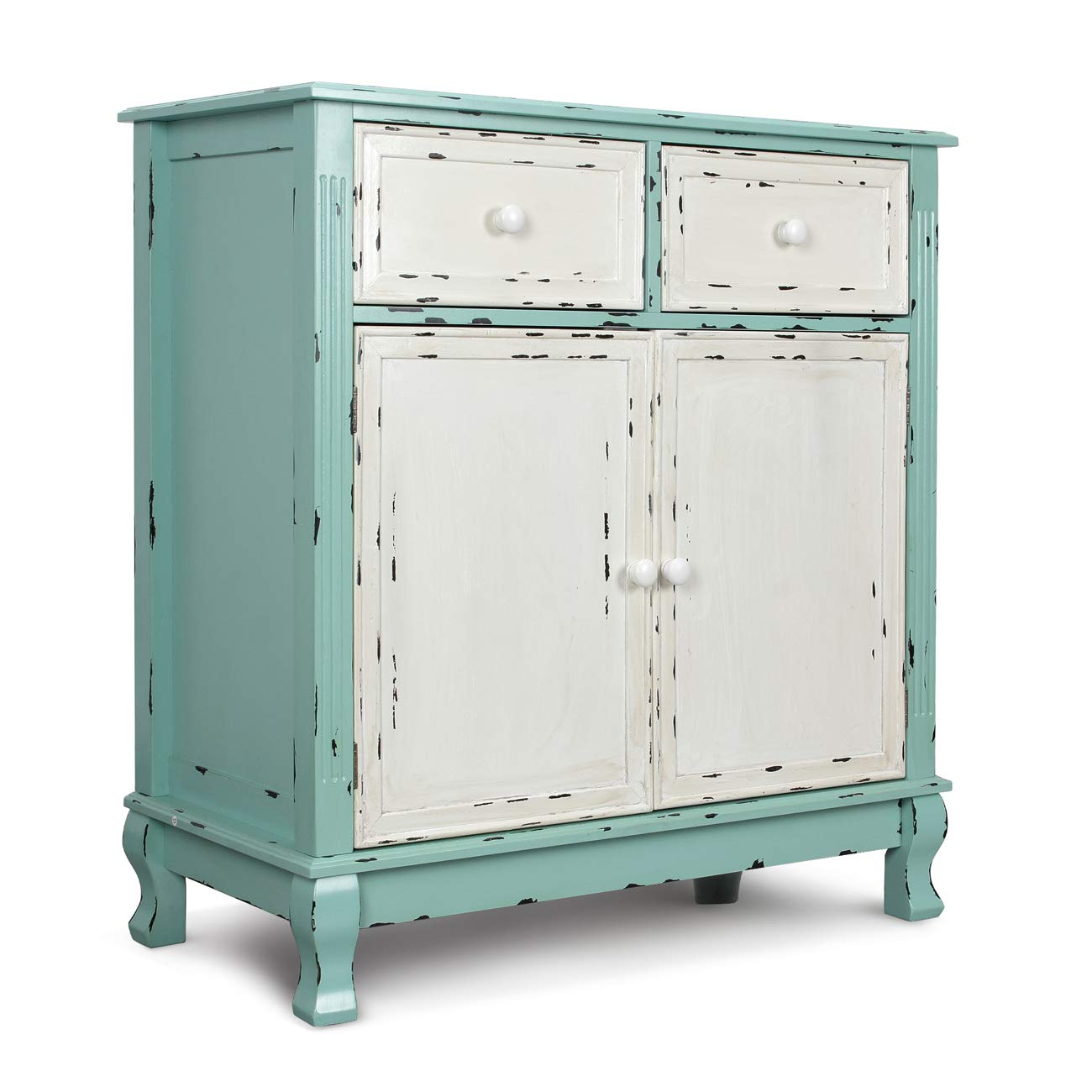 BELLEZE Wood Cabinet with Drawers and Doors Vintage Accent Storage Chest for Entryway, Living Room (Antique Blue) by Belleze (Image #2)