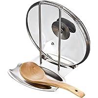 Gearmax® Edelstahl Löffel-Ständer Topfdeckelhalter Deckelhalter (Halter für Deckel von Kochtopf oder Bratpfanne und Löffel)