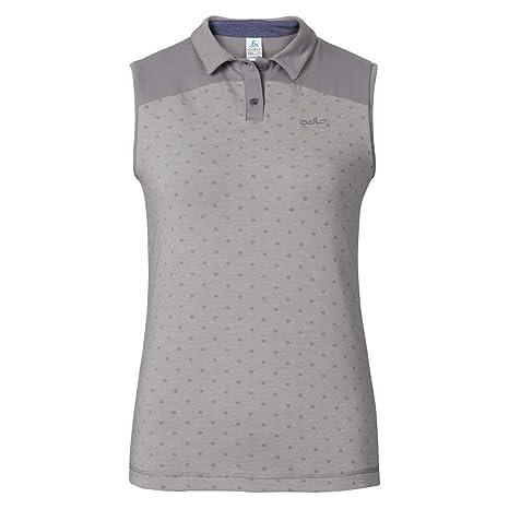 Odlo Shift Sleeveless Polo Women Grey Melange, Polo Shirt ...