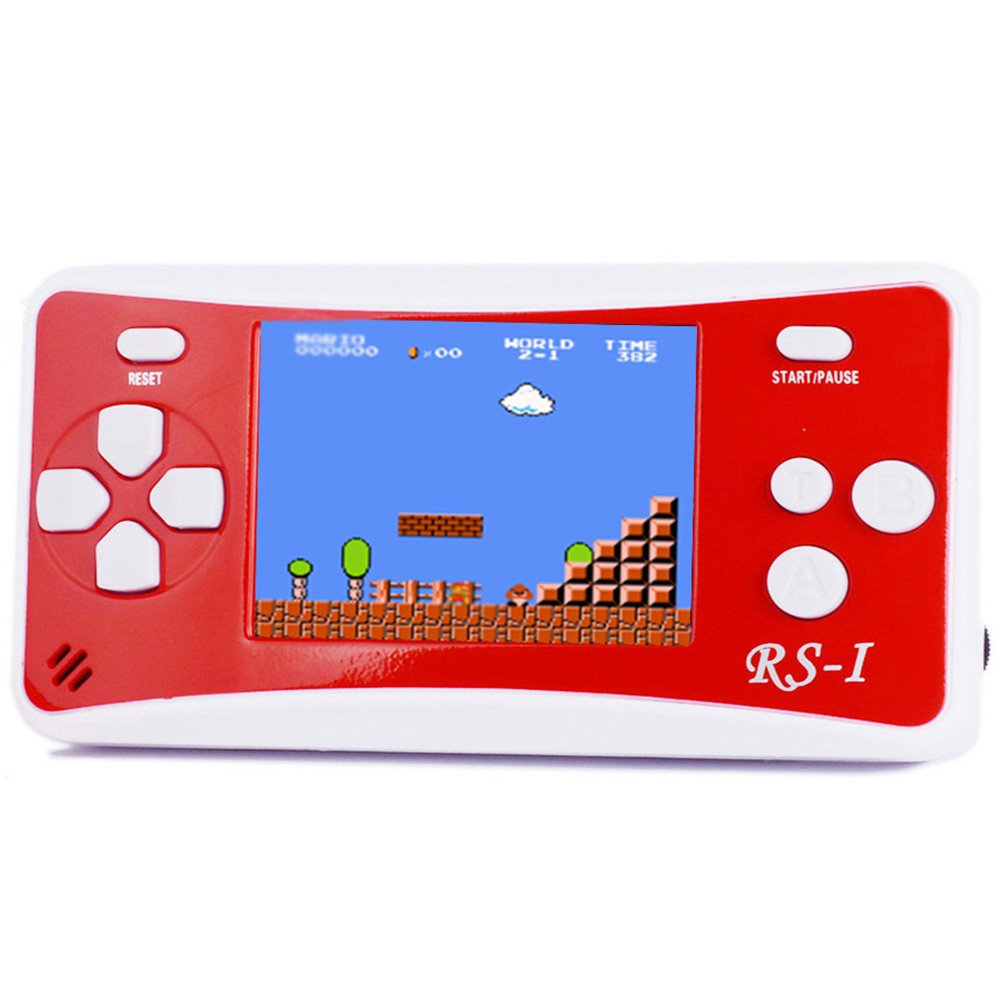 JJFUN RS-1 Handheld Game Console for Children,Retro Game Player with 2.5'' 8-Bit LCD Portable Video Games,The 80's Arcade Video Gaming System,Built-in 152 Classic Old School Games Entertainment-Red