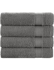 Bath Towels Set, White - Luxurious 100% Ring Spun Cotton - Quick Dry, Highly Absorbent, Soft Feel Towels, Perfect for Daily Use (4-Pack) (Grey)