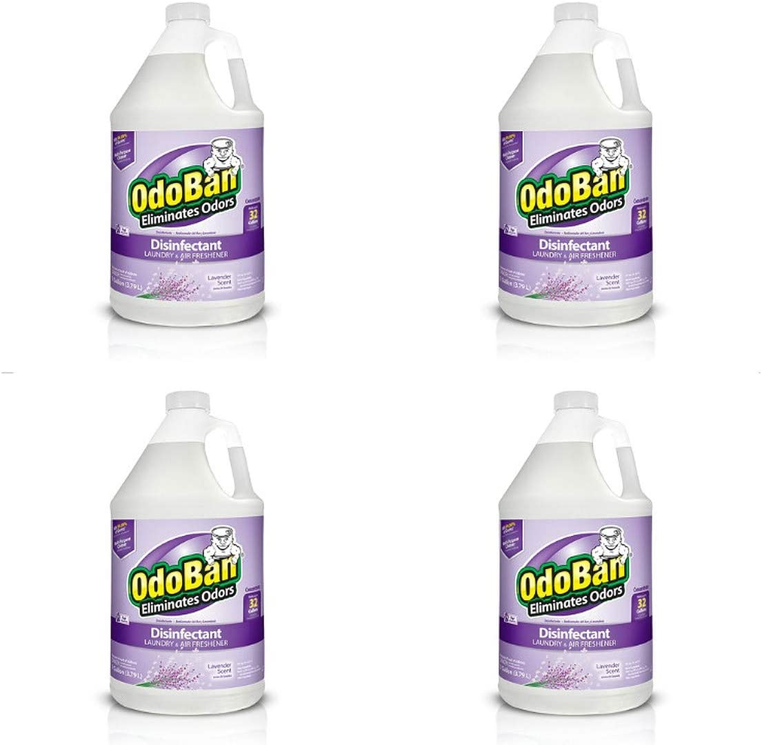 OdoBan Multipurpose Cleaner Concentrate 4 Gallons, Lavender Scent, 4 Pack, Odor Eliminator, Disinfectant, Flood Fire Water Damage Restoration