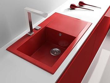 Evier De Cuisine Rouge.Poalgi Shira 503 Evier De Cuisine Rouge Avec Miroir Fleck