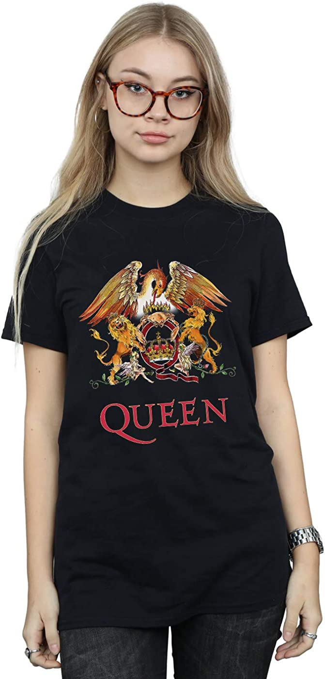 Absolute Cult Queen Mujer Crest Logo Camiseta del Novio Fit