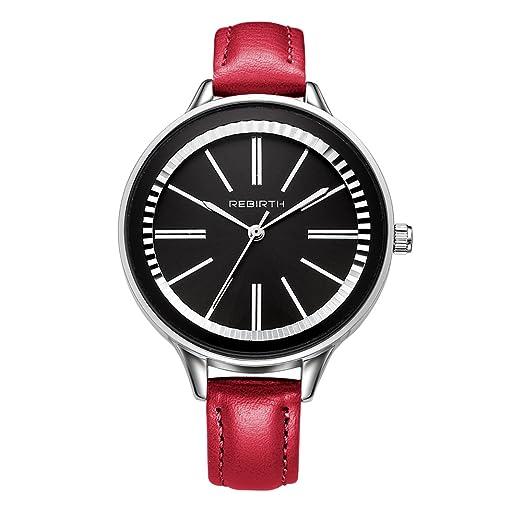 Bosymart - Reloj de pulsera de cuarzo para mujer, correa de piel, moderno, vestido de lujo, reloj de pulsera: Amazon.es: Relojes