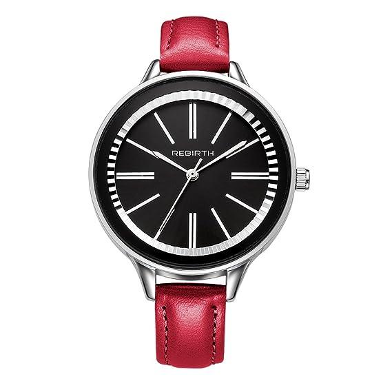 Bosymart - Reloj de pulsera de cuarzo para mujer, correa de piel, moderno,