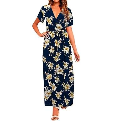 92571746944b Yuutimko Women's Maxi Dress V-Neck Short Sleeve Floral Print Long Flowy  Boho Dress Summer Beach Dress: Amazon.co.uk: Clothing