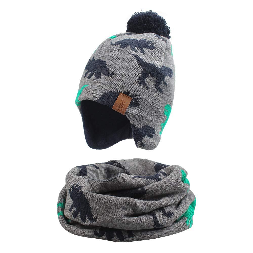 Knitted Dinosaur Baby Hat Scarf Set Winter Warm Boys Girls Beanie Fleece Lining Toddler Kids Hat with Pompom (Gray Dinosaur, M) by JANGANNSA