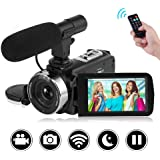 """Camcorder Camera Full HD 1080P 30FPS Vlogging Camera with Remote Control Wi-Fi IR Night Vision 3"""" LCD Touch Screen Digital Video Camera with External Microphone"""