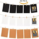 "GooGou DIY Paper Photo Frame Wall Deco with Mini Clothespins and String Fits 4""x 6"" Pictures For College,Home,Dorm Room,Office(30 pcs)"