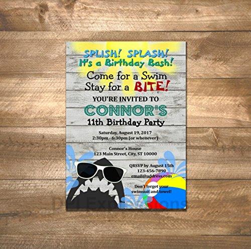 amazon com shark pool party invitations birthday party invitations