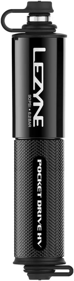 LEZYNE Pocket Drive HV Mini Bicycle Hand Pump, High Volume 90psi, Presta & Scrhader Compatible, CNC Aluminum, Compact, Plus-Size Tires, Portable Bike Pump