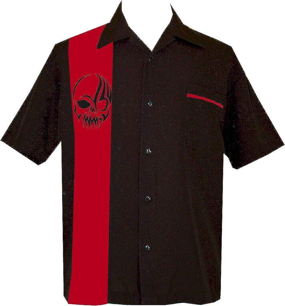 BeRetro Mens Black and Red Skull Short-Sleeve Button Down Shirt ~ IronSkull