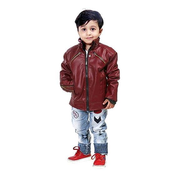 La Fashion Stylish Maroon Leather Jacket For Kids Baby Amazon In