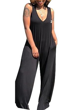0f9532788d97 Selowin Womens Sleeveless Deep V Neck Draped Wide Leg Long Pants Jumpsuits  Rompers Black S