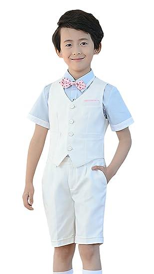 Lukis 4 Pièces Costume Garçon Habit de Cérémonie Homme Chemise Gilet  Pantalon Court Nœud Papillon Printemps ddfc7cd7ffc