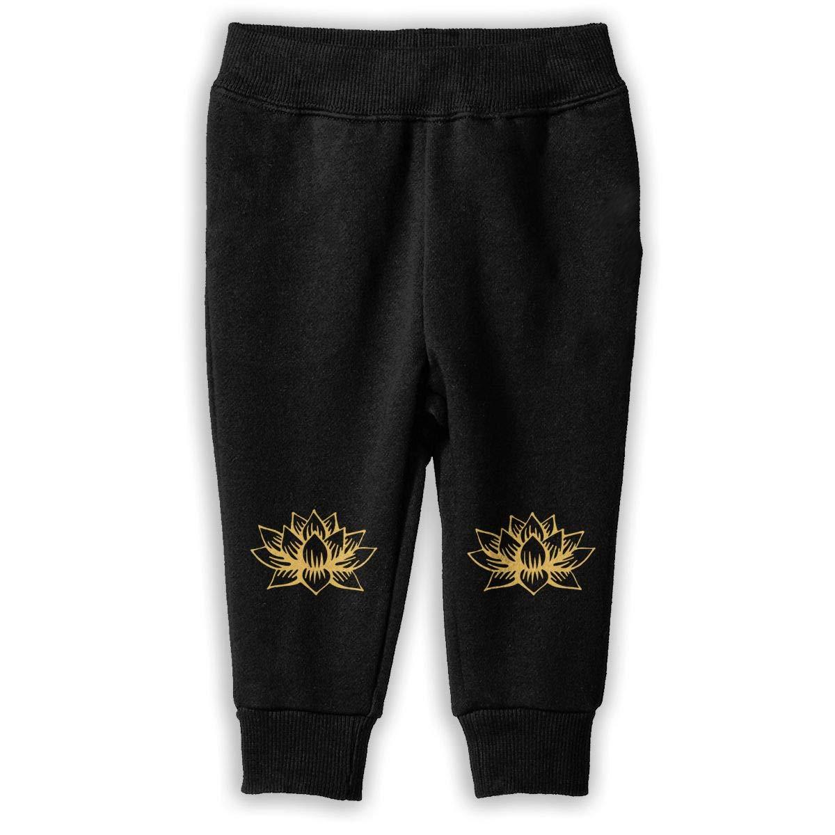 NJKM5MJ White Golden Lotus Mandala Sweatpants Toddler Jogger Pants