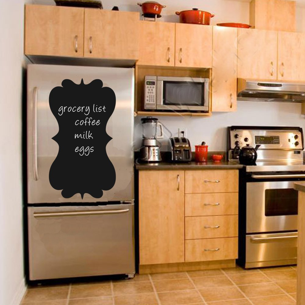 "BATTOO Chalkboard Wall Decal - Refrigerator Menu Chalk Board Fancy Frame - Eco friendly Child Safe CPSIA Compliant Vinyl Wall Decal(20"" h x11 w, Black)"
