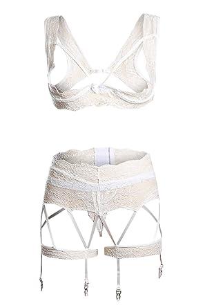 Aranmei Women Sexy Harness Lace Bodysuit 3 Pieces Bralettes Garter Lingerie  Set (White Open Cup fbb19bf14