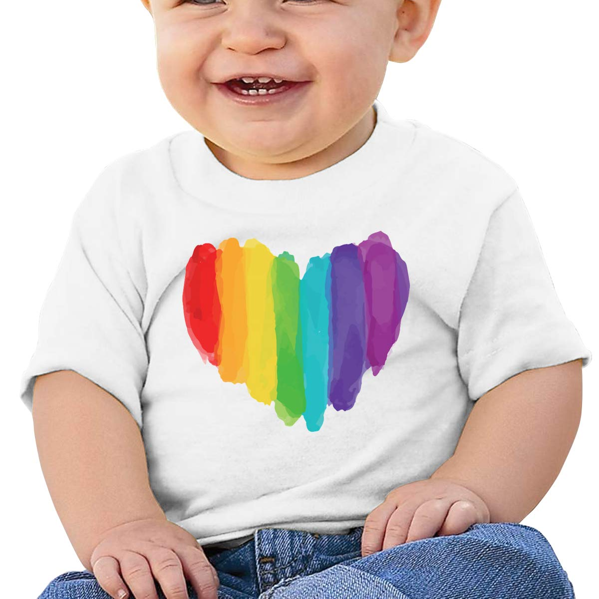 AiguanLGBT Watercolor Love Heart Toddler//Infant Short Sleeve Cotton T Shirts White 46