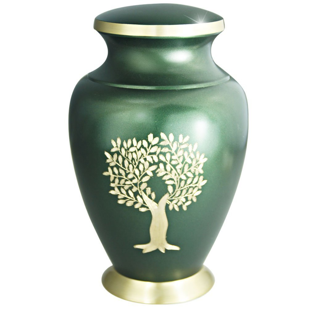 MEILINXU Funeral Urn by Cremation Urns for Ashes Adult Large - Hand Made in Brass & Hand - Engraved - Burial Urns At Home or in Niche at Columbarium (Gold Tree of Life and Green, Human Brass Urns Meilinxu Memorials CR-MLX-MU08L