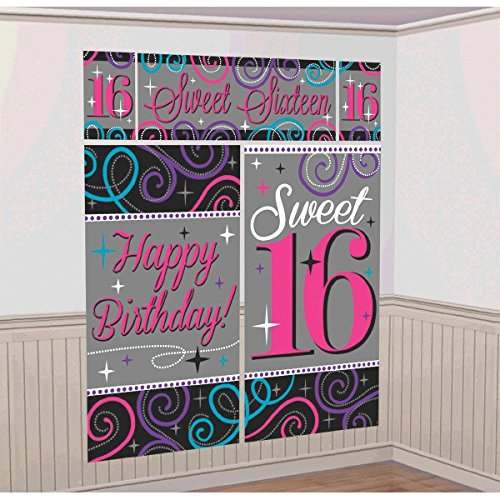 Sweet Sixteen Celebration Birthday Party Scene Setters Wall Decorating Kit (5 Pack), Multi Color, . -