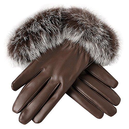 Wenjuan Women Leather Gloves Winter Windproof Warm Gloves with Rabbit Fur Trim Cuff Thermal Lining (Coffee)