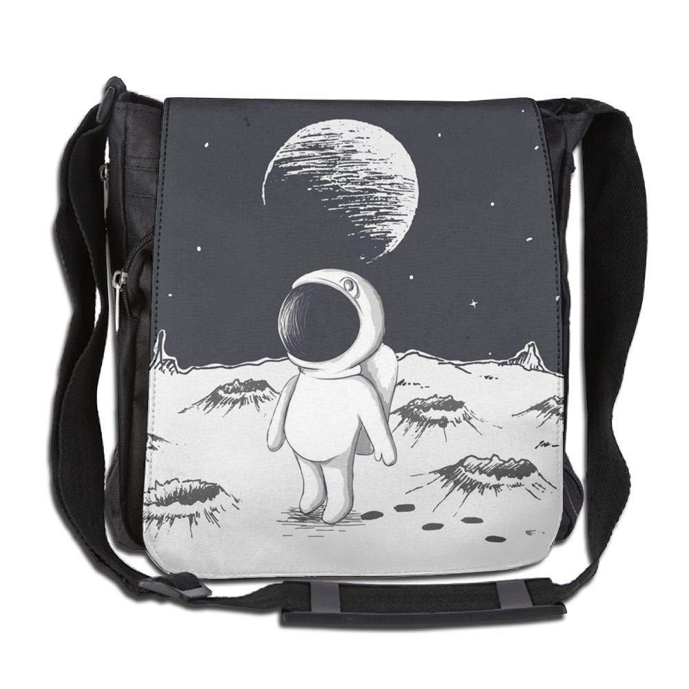 SARA NELL Messenger Bag,astronaut Walking On Moon,Unisex Shoulder Backpack Cross-body Sling Bag