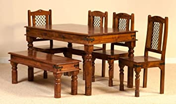 Aprodz Sheesham Wood Reyk 6 Seater Dining Table Set for Home | Dining Furniture | Brown Finish