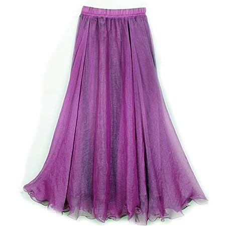 Huisongda Faldas de Cintura Alta for Las Mujeres Falda de Gasa con ...