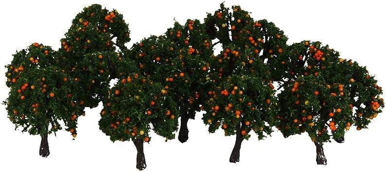 NON 20 Unids Modelo Tren Naranja Árboles Frutales Jardín Calle Escala De Diseño 1/300 4 CM: Amazon.es: Juguetes y juegos