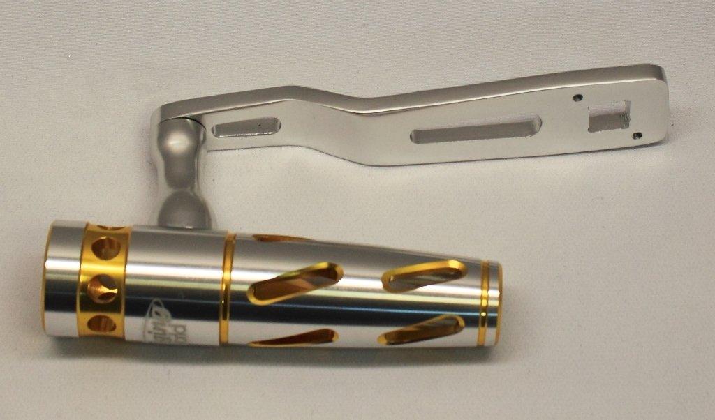 Jigging World T-Bar & Power Handle for Shimano Talica II 8 & 10 - Silver/Gold T-bar