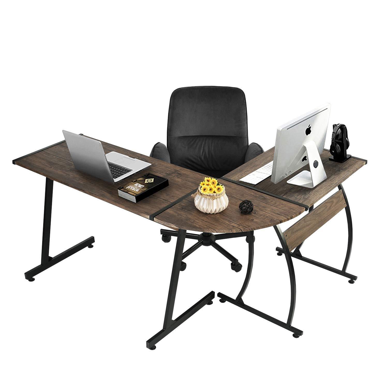 GreenForest L-Shape Corner Computer Office Desk PC Laptop Table Workstation Home Office 3-Piece,3D Walnut