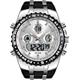メンズ腕時計 多機能 アナデジ スポーツ ウォッチ ミリタリー 防水 バックライト 時計 (ノーマルフェイス-白)