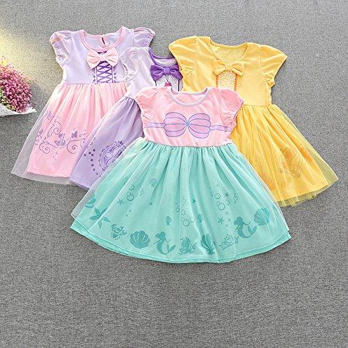 [해외] M139 # 리틀 프린세스 소피어 드레스 벨 드레스 아리엘 인어 공주 머메이드 미녀와 야수 프린세스 드레스 BELLE 키즈 소피어 어린이용 드레스 소녀 아이 프린세스 드레스 드레스 변신(나리키리) 공주님 부드럽게 (130,그린)