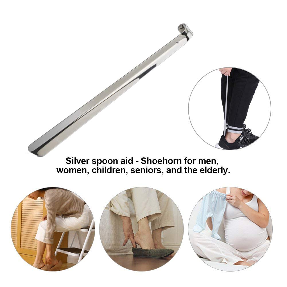 2 pack Extra Long Metal Shoe Horn Heavy Duty Stainless Steel Shoehorn For men women Seniors lumbar patients,A,80CM//31.5in