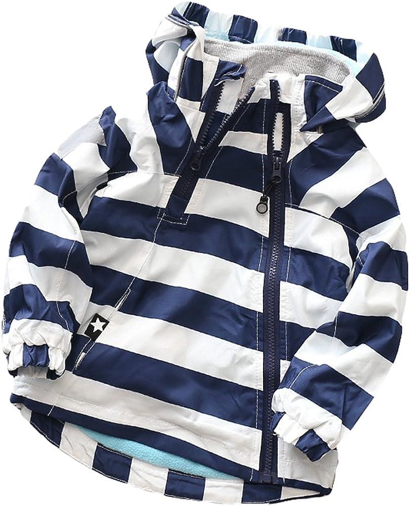 Muzboo Boys Girls Colorblock Water Resistance Windbreaker Zipper Hooded Jacket
