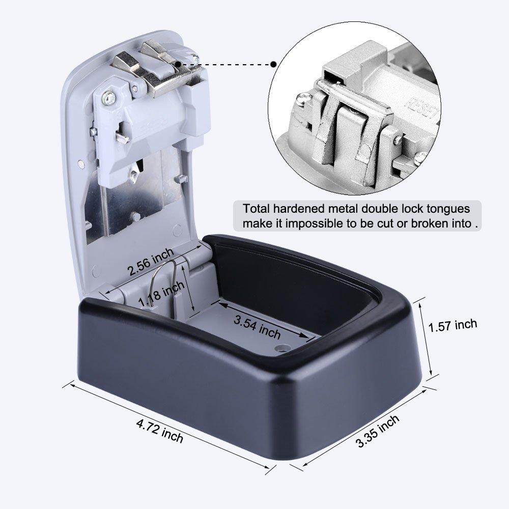 YDO Key Storage Lock Box Secure 4 Digit Combination Case Wall Mounted Organizer (Black) by YDO (Image #4)