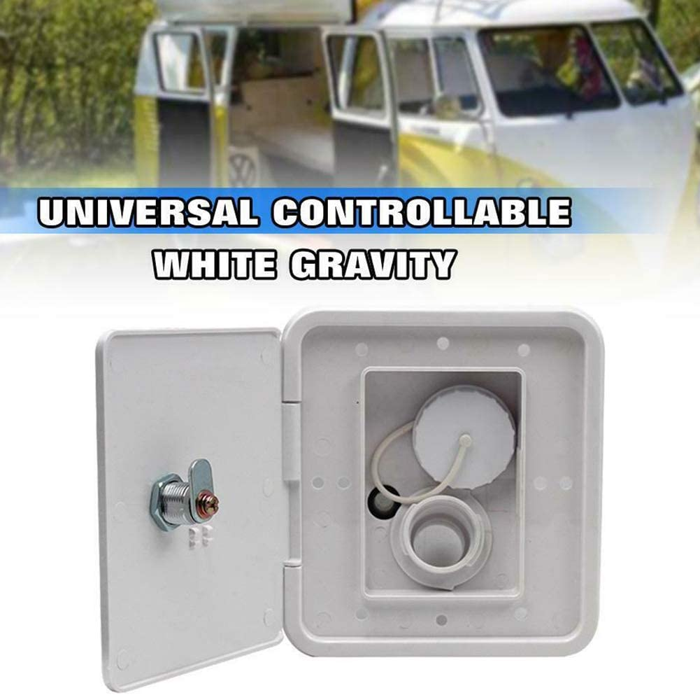 Caravan Water Inlet Cover RV Gravity Water Inlet Hatch Cover Square Lockable Fresh Water Fill Touring Intake with 2 Keys Double-Sided Tape