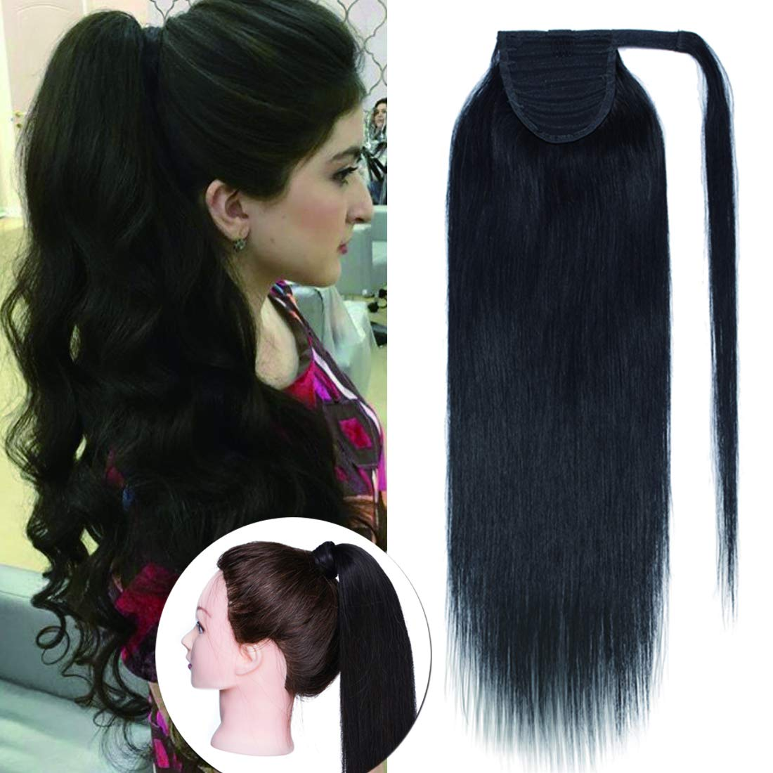 100% Remy Human Hair Wrap Around Ponytail Hair Extension Straight One Piece Wrap Pony Tail Hairpiece for Woman #1B Natural Black 16 inches 80g