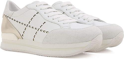 Hogan Sneakers Donna in Pelle Bianca e Tallone Laminato Argento ...