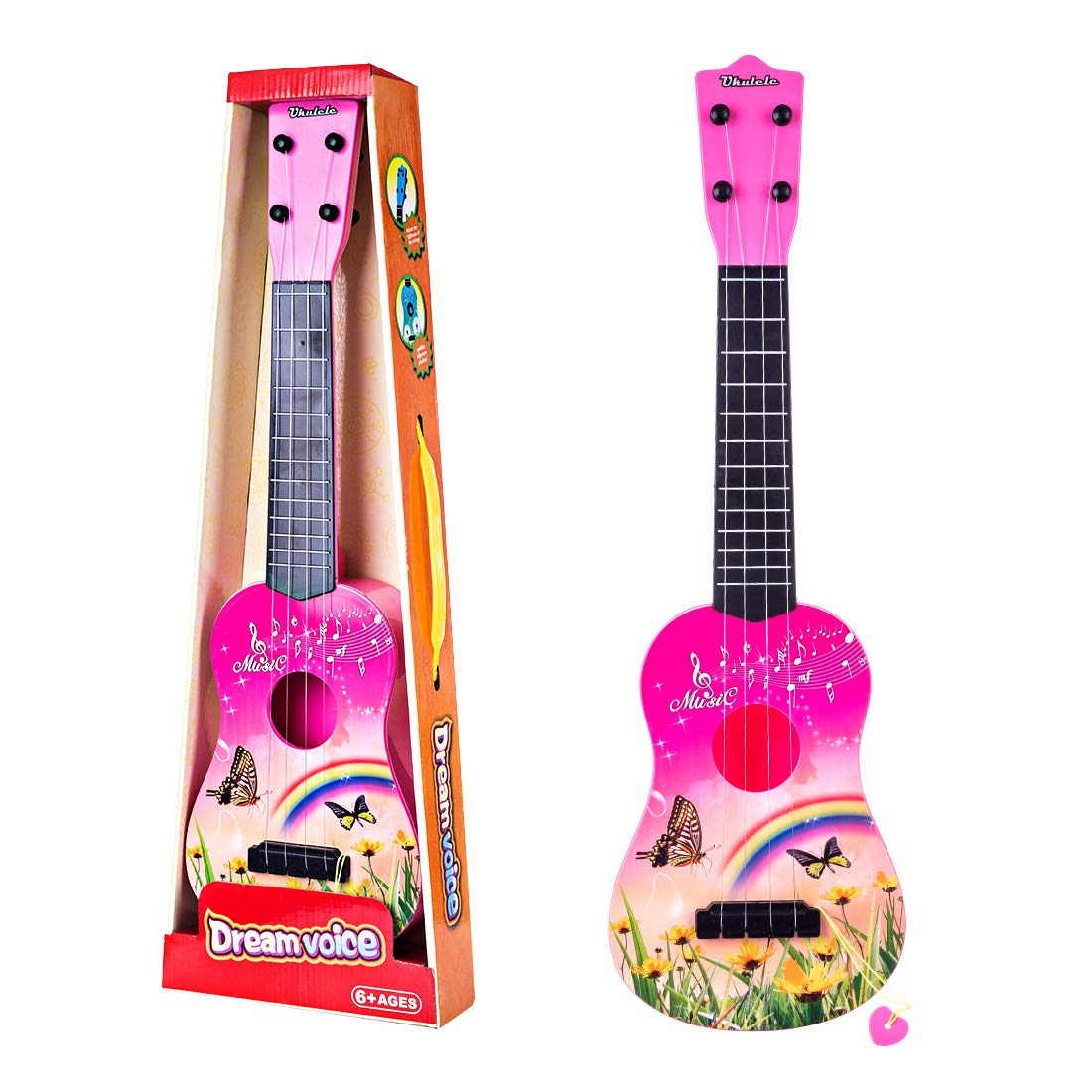 RuiyiF Toy Guitar for Toddlers Girls Boys, 4 String Acoustic Guitar with Pick for Beginners Kids/ Toddler Guitar Toy for Kids Ages 3-5 (Pink) by RuiyiF