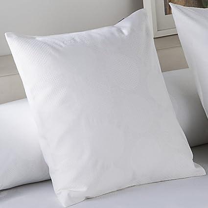 ES-TELA - Funda de cojín jacquard GIJÓN color Blanco - Medidas 50x50 cm. - 50% Algodón / 50% Poliéster - 144 Hilos