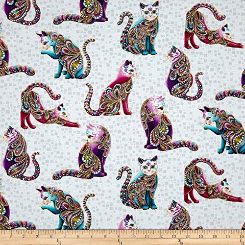 Benartex 0567729 tude Artist-O-Cats Metallic White/Multi Fabric by The ()