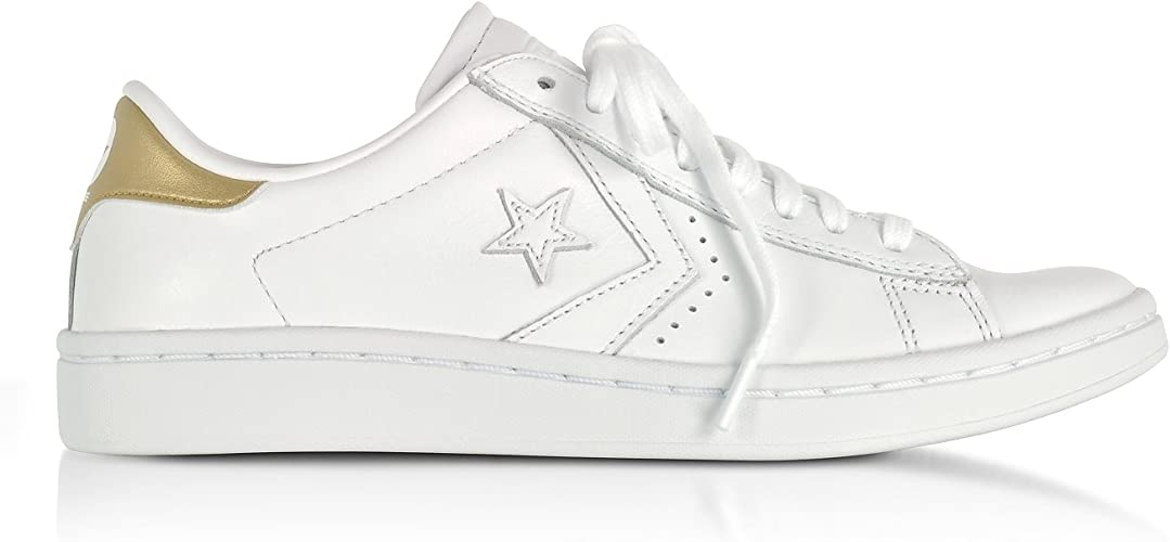 Converse Femme 555934C Blanc Cuir Baskets: Amazon.fr ...