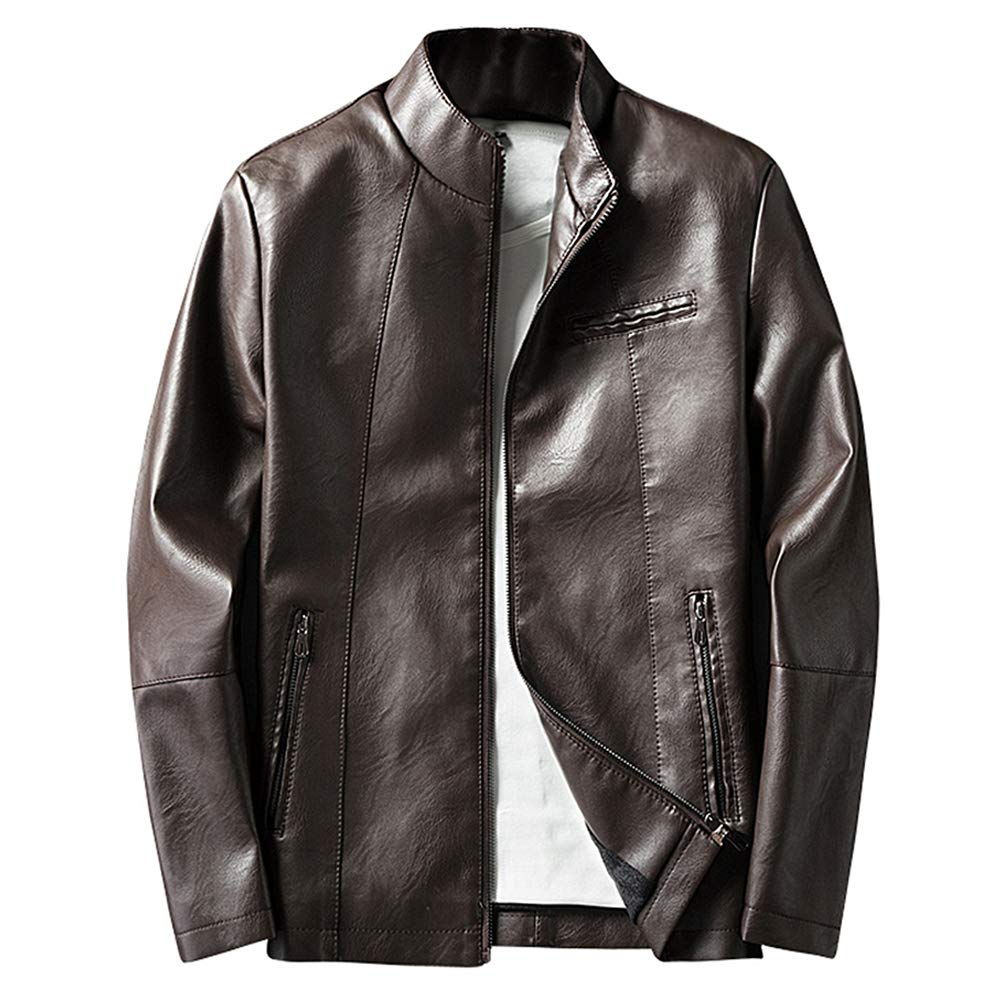 BiSHE Mens PU Leather Jackets Slim Smart Fit Fleece Jacket Coat
