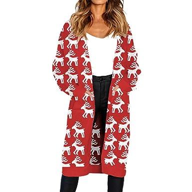 Longra ☂☂ Abrigo de Punto Navidad, Elk Tree muñeco de Nieve Impreso Camiseta suéter para Mujer: Amazon.es: Ropa y accesorios