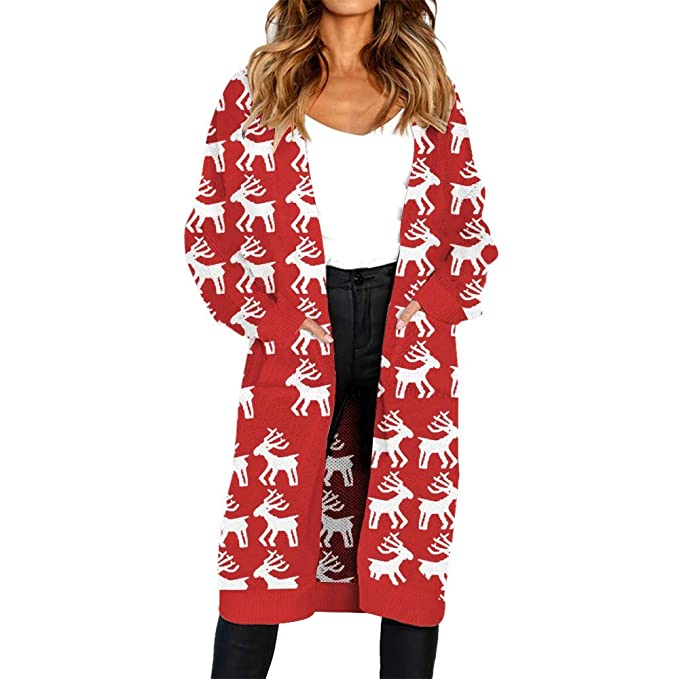 STORTO Women Christmas Knitted Cardigan,Reindeer Print Open Front Sweater  Coat at Amazon Women s Clothing store  7e2c7e53a