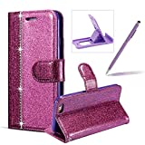 Diamond Wallet Leather Case for iPhone 6S,Flip Cover for iPhone 6,Herzzer Luxury Purple Glitter Magnetic Stand PU Leather with Soft Rubber Case